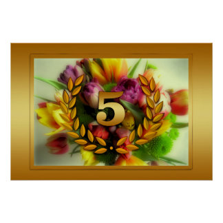 5 year anniversary floral illustration poster