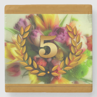 5 year anniversary floral illustration stone coaster