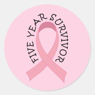 5 Year Breast Cancer Survivor Classic Round Sticker
