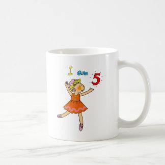 5 year old ballerina classic white coffee mug