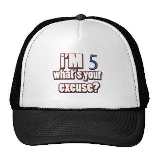 5 year old birthday designs trucker hat
