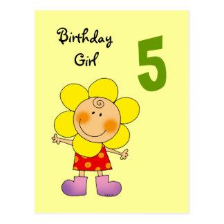 5 year old birthday girl postcard