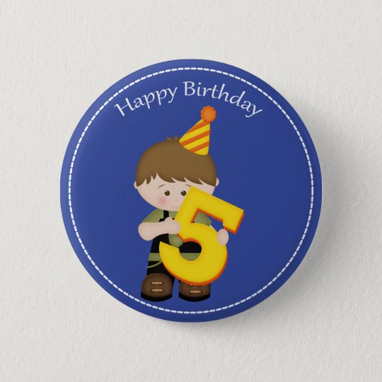 5 Year Old Boys Happy Birthday Button