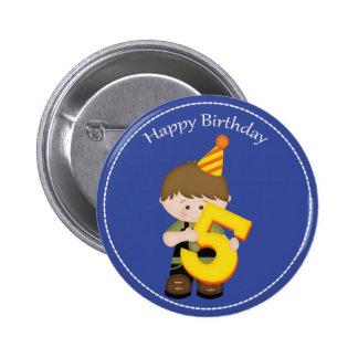 5 year old boys Happy Birthday Button 2 Inch Round Button
