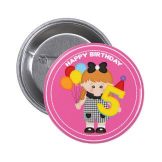 5 year old girl Birthday Button 2 Inch Round Button