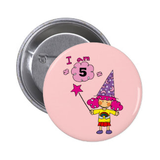 5 year old magician girl pinback buttons