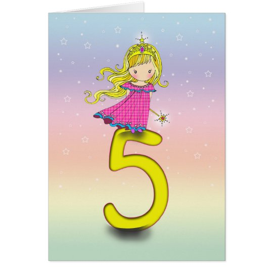 5 year old princess birthday card for girls zazzle 5 year old princess birthday card for girls bookmarktalkfo Images