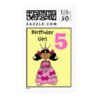 5 year old princess (black hair) postage
