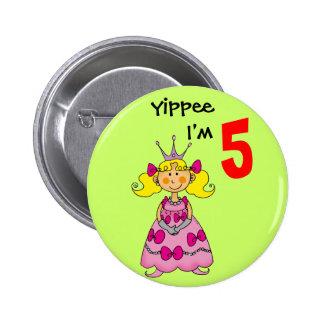 5 year old princess (blonde hair) pinback button