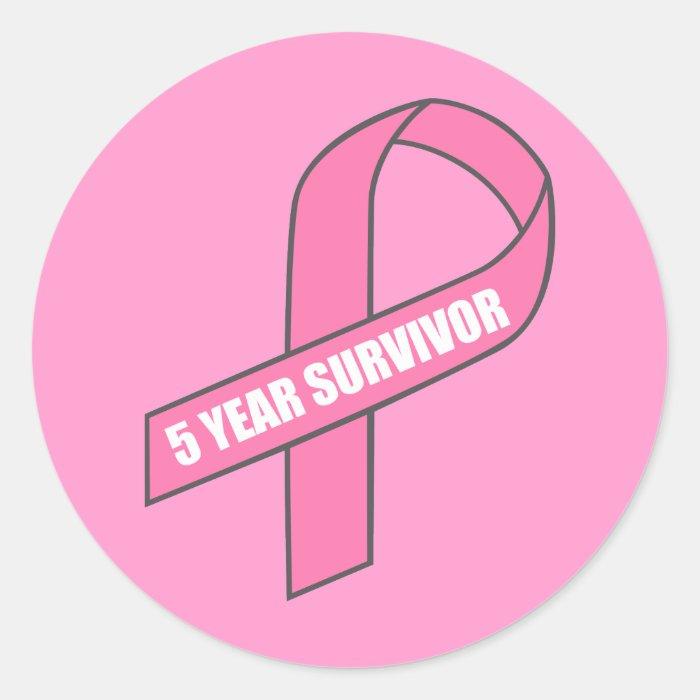 5 Year Survivor (Breast Cancer Pink Ribbon) Classic Round Sticker