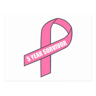 5 Year Survivor (Breast Cancer Pink Ribbon) Postcard
