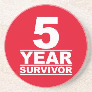 5 year survivor drink coaster