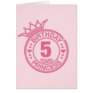 5 years - Birthday Princess - pink Card