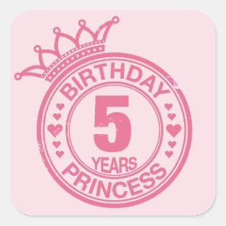 5 years - Birthday Princess - pink Square Sticker