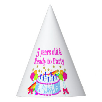5 YEARS OLD AND READY TO PARTY BIRTHDAY GIRL PARTY HAT