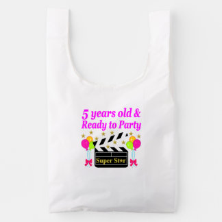 5 YEARS OLD AND READY TO PARTY MOVIE STAR DESIGN REUSABLE BAG