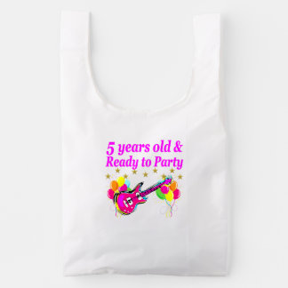 5 YEARS OLD AND READY TO PARTY ROCK STAR REUSABLE BAG