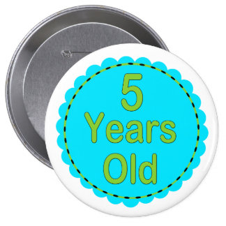5 Years Old Teal & Lime Memory Button