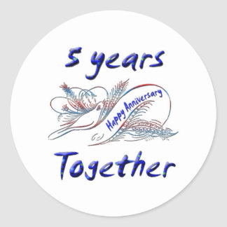 5 Years Together Classic Round Sticker