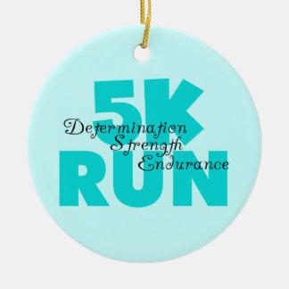 5K Run Aqua Sports Running Double-Sided Ceramic Round Christmas Ornament