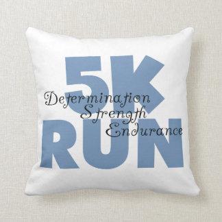 5K Run Blue Throw Pillow