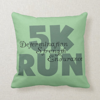 5K Run Green Throw Pillow