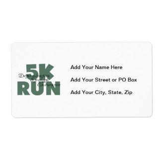5K Run Green Sports Running Label