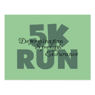 5K Run Green Sports Running Postcard