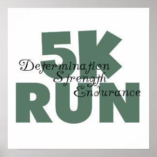 5K Run Green Sports Running Poster