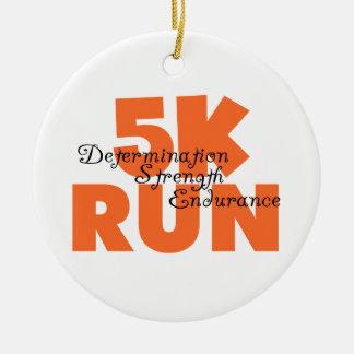 5K Run Orange Ceramic Ornament
