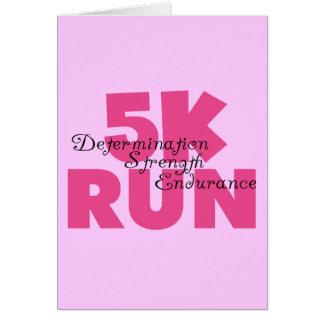 5K Run Pink Motivational Card
