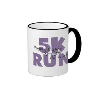 5K Run Purple Inspiring Runner Ringer Mug