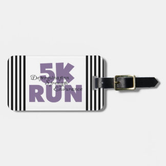 5K Run Purple Motivating Message Running Tag For Luggage