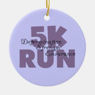5K Run Purple Double-Sided Ceramic Round Christmas Ornament