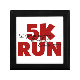 5K Run Red Determination Strength Endurance Jewelry Box