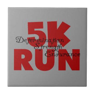5K Run Red Running Runner Ceramic Tile