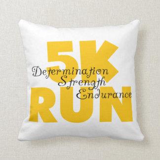 5K Run Yellow Throw Pillow