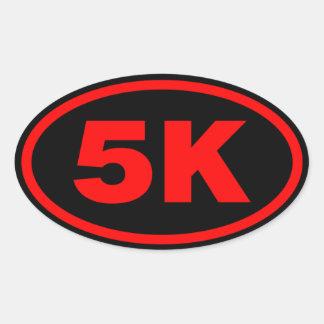5K Runner Red & Black oval Oval Sticker