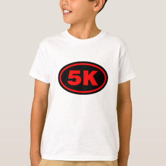 5K Runner Red & Black oval T-Shirt