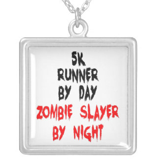 5K Runner Zombie Slayer Silver Plated Necklace