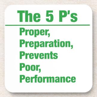 5p's - Proper, Preparation, Prevents, Poor, ...... Coasters
