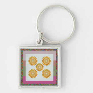 5STAR FiveStar SunFlower Energy Silver-Colored Square Keychain