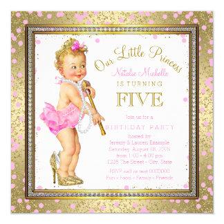 """5ta cumpleaños fiesta de la pequeña princesa invitación 5.25"""" x 5.25"""""""
