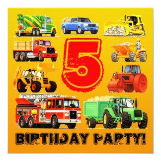 """5ta fiesta de cumpleaños de los camiones grandes invitación 5.25"""" x 5.25"""""""