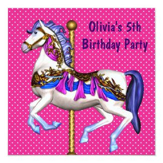 """5ta fiesta de cumpleaños del carrusel de los invitación 5.25"""" x 5.25"""""""