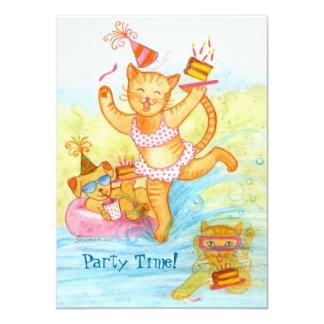 """5ta fiesta en la piscina del cumpleaños del gato invitación 4.5"""" x 6.25"""""""