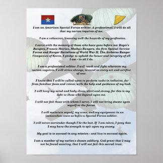 5ta impresión del credo de las boinas verdes de la póster