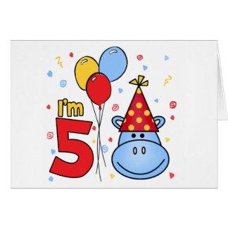 5ta invitación del cumpleaños de la cara azul del  tarjeta pequeña