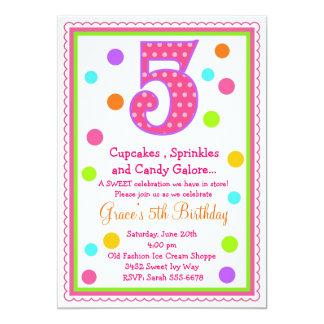 5ta invitación del cumpleaños de la sorpresa dulce