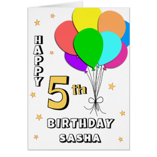 5ta tarjeta de cumpleaños llenada globo